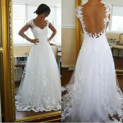 White Lace Long Formal Gown Elegant..