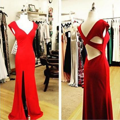 Fitted Red V Neck Cap Sleeves Slit ..