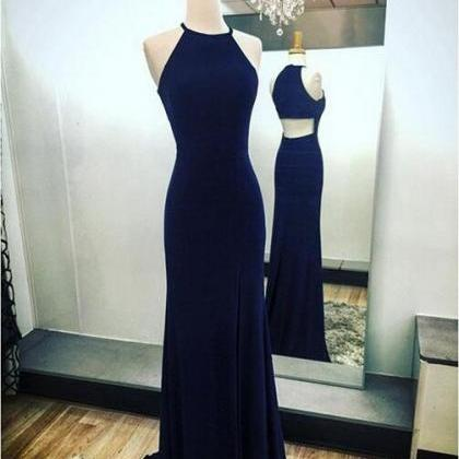 Navy blue sheath prom dress,split s..