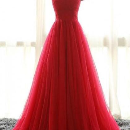Simple Off the Shoulder Red Prom Dr..