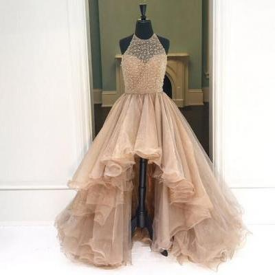 Champagne Halter Organza High Low Prom Dress,Backless Long Evening Dresses,Charming Women Party Dress