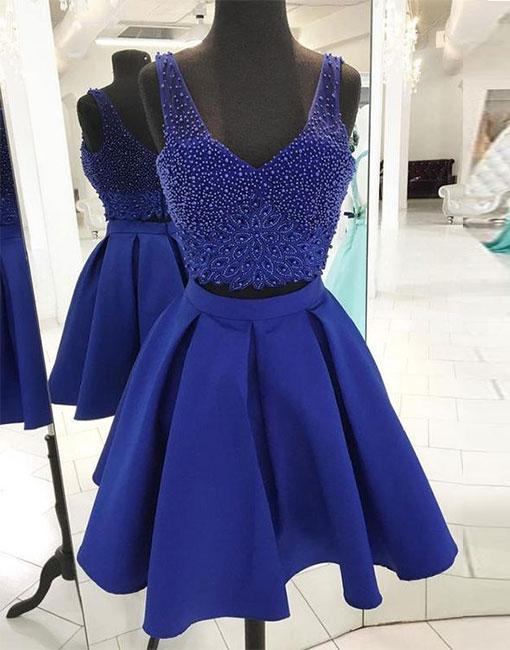 Blue beaded two pieced A line short prom dress,blue homecoming dress