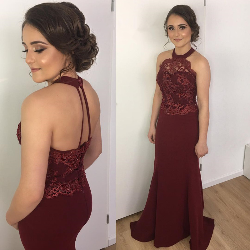 2018 Burgundy Prom Dresses Mermaid Lace Bridesmaid Dress Halter Backless Evening Gowns