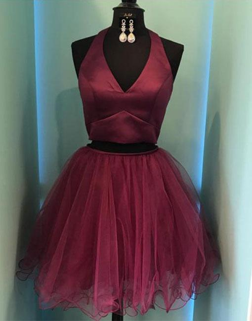 5ac9055bddd Burgundy Two-Piece V-Neck Short Prom Dress