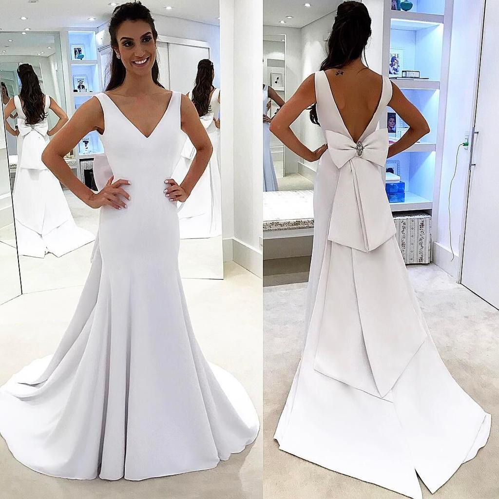 Elegant White V Neck Formal Dress,Open Back Sheath Wedding Dress ...