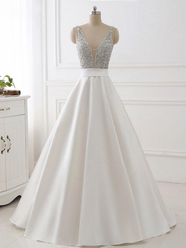 Stunning White A-Line V-Neck Satin Prom Dress with Beaded Bodice,Sleeveless Backless Evening Gowns