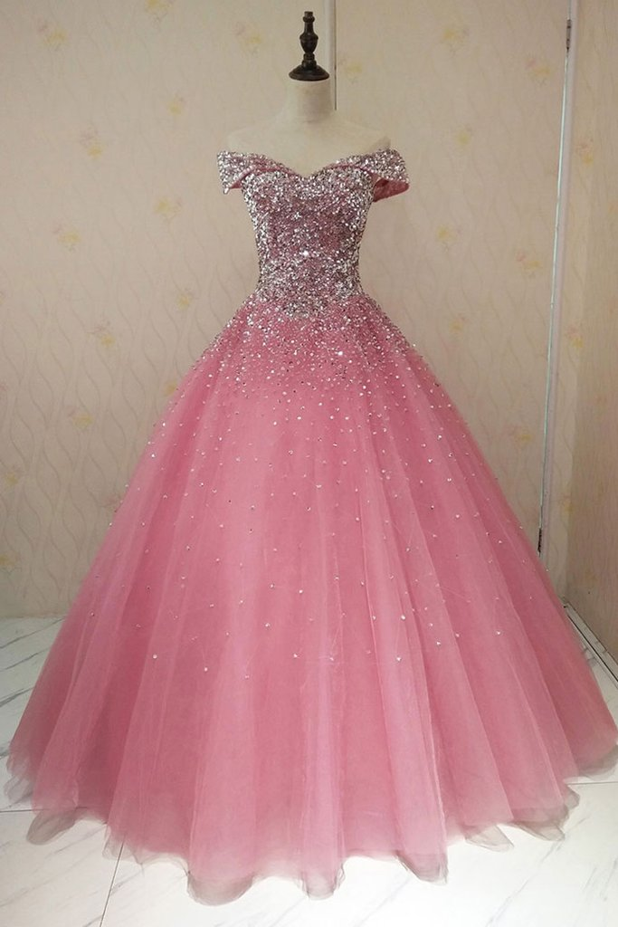 Pink Sweetheart Luxurious Beaded Long Prom Dress,Sequins Tulle Formal Evening Dresses