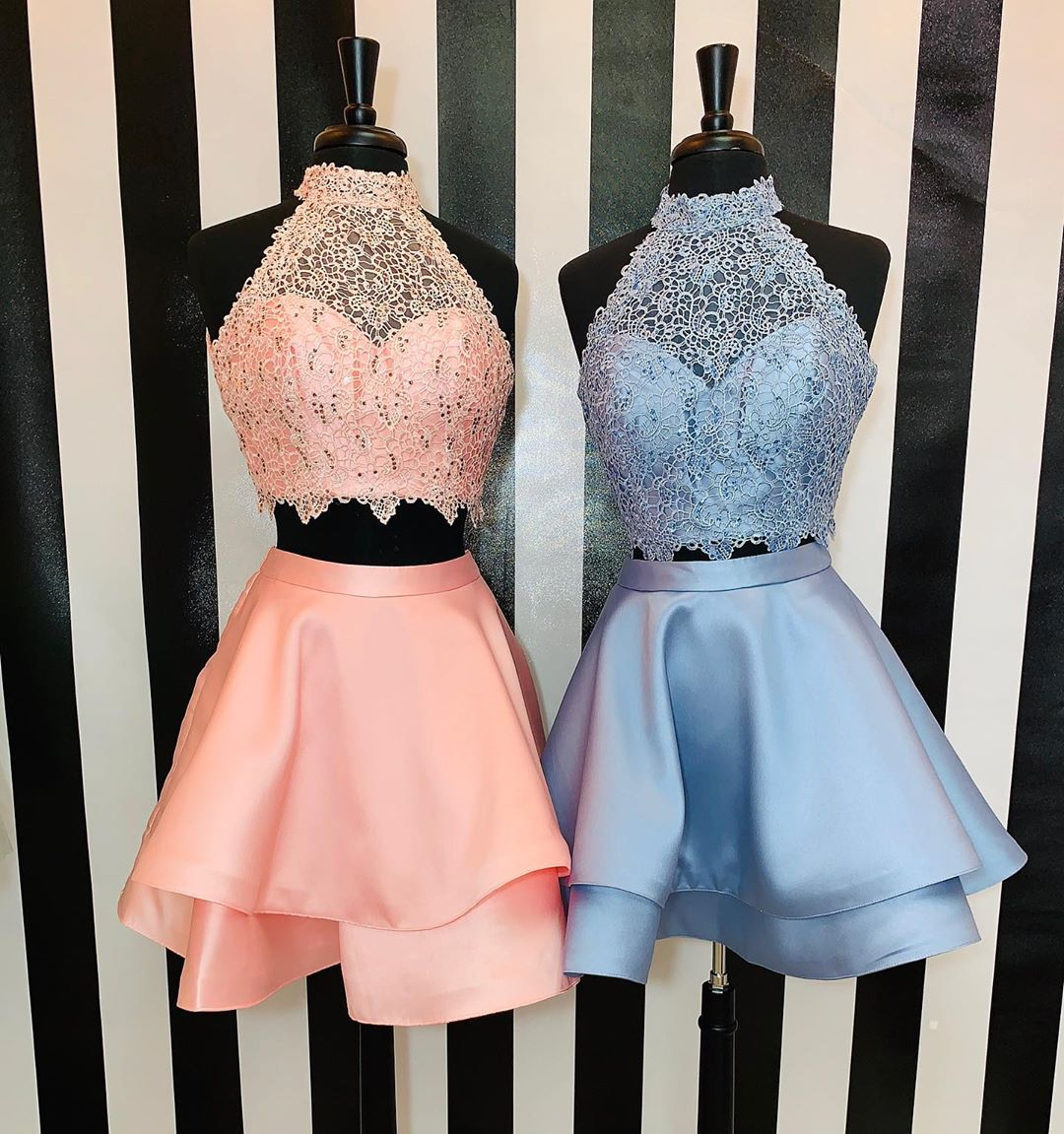 Princess Two Piece Halter Short Pink/Blue Homecoming Dress,Lace Party Dress