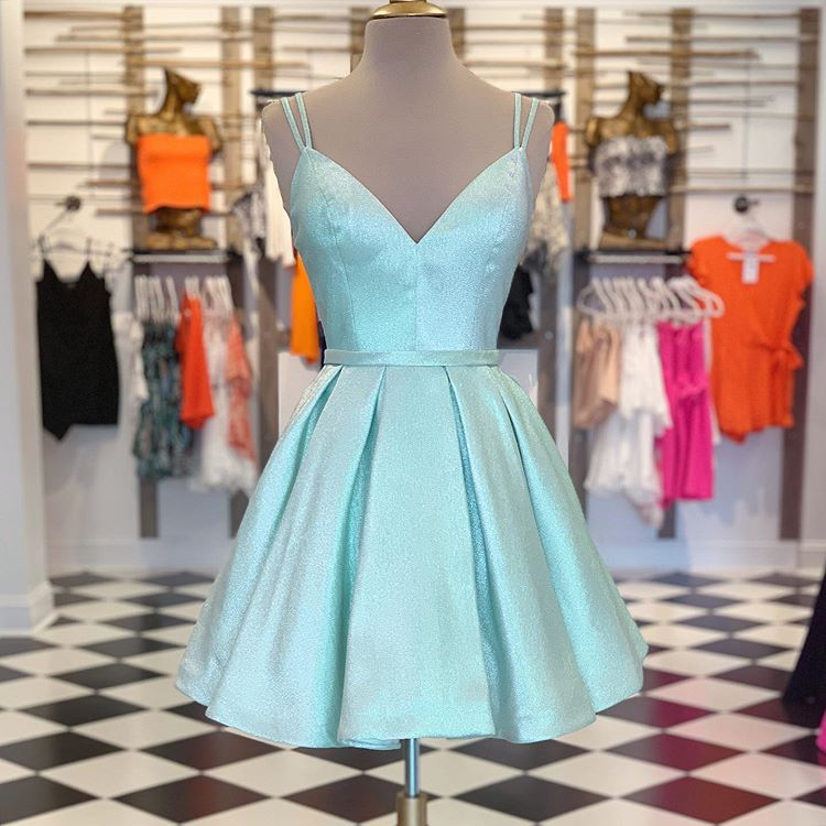 Cute Green V Neck Homecoming Dress,Straps Short Prom Dress,Winter Formal Dress