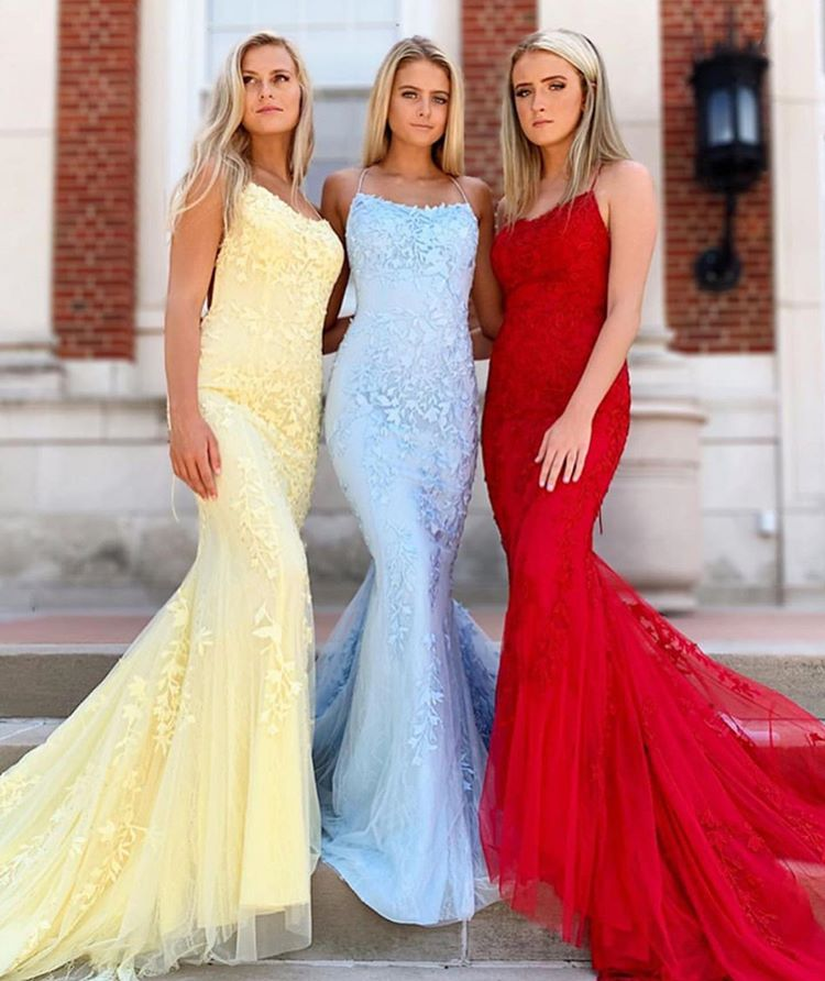 Beautiful Spaghetti Straps Applique Lace Prom Dress,Mermaid Tulle Bridesmaid Dress,Formal Evening Gowns