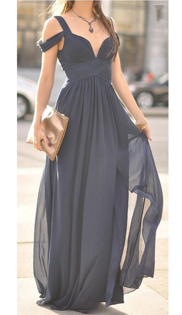 Ocean of Elegance Navy Blue Maxi Dress Long Chiffon Special Prom Dress