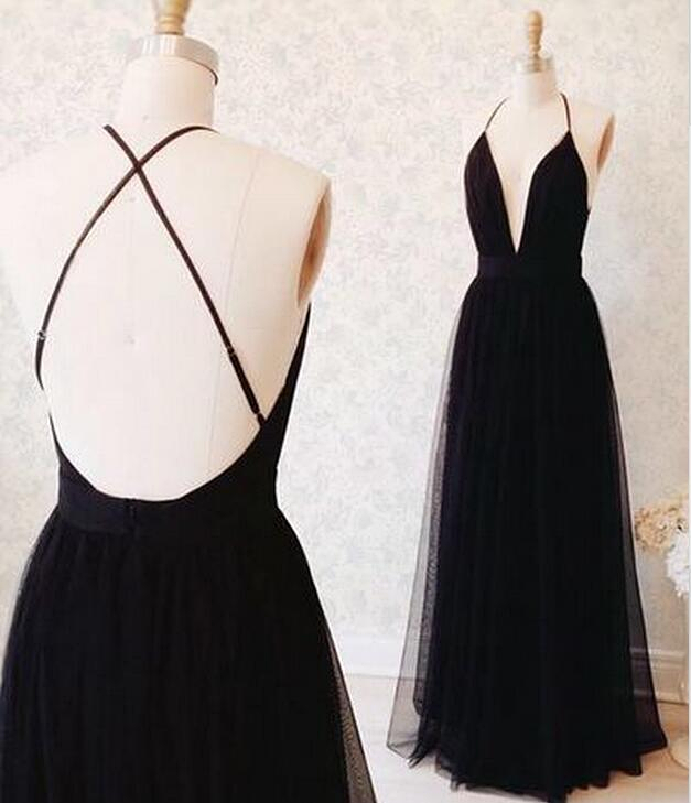 Black Tulle Floor-length Prom Dress With Plunging Neckline And Open ...