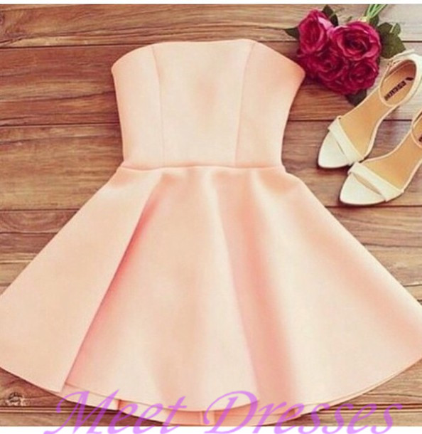 Light Pearl Pink Homecoming Dresses With Strapless Satin Elegant Short  Casual Women Dress Party Gown e50fb33b0582