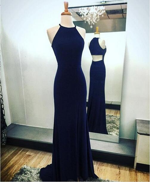 Navy blue sheath prom dress,split side prom dress,halter evening dress,special design prom dress,2016 prom dresses