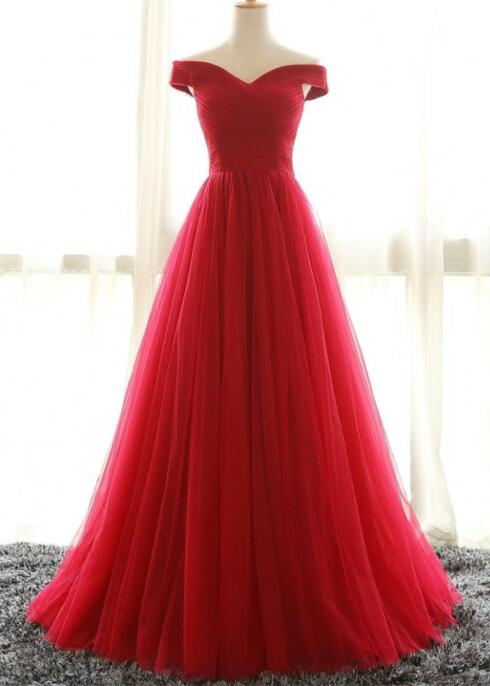 Simple Off the Shoulder Red Prom Dress,Elegant Wedding Party Dress,Long A-Line Tulle Prom Dress,Red Formal Dress for Women