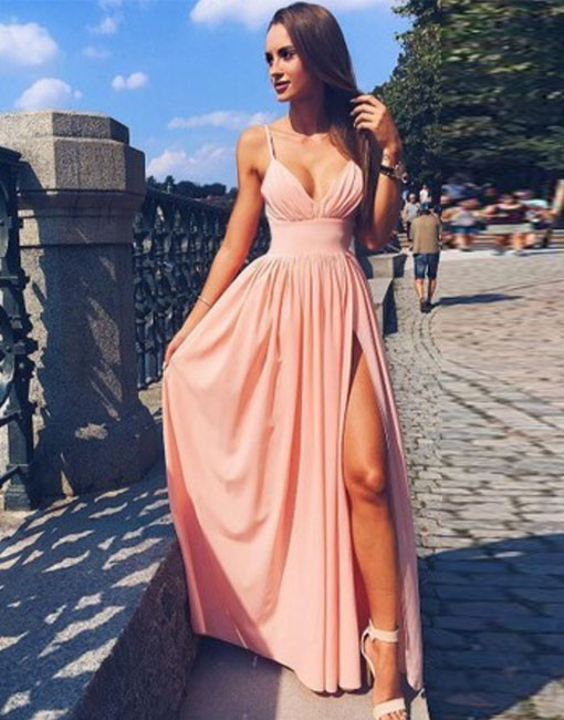 Pink Spaghetti Strap V Neck Prom Dress Simple Long Evening Dress