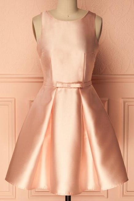 Cute A Line Crew Neck Short Satin Homecoming Dress,Pearl Pink Short Party Dress,Simple Graduation Dresses