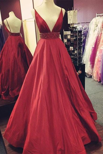 Red V-Neck Sexy Prom Dress,Long Evening Dress with Waist Beaded,Red Evening Dresses