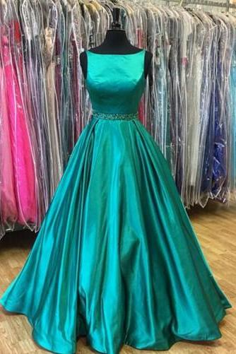 Stunning Green A Line Prom Dress,Sleeveless Beadings Prom Dress,2017 Long Evening Dresses