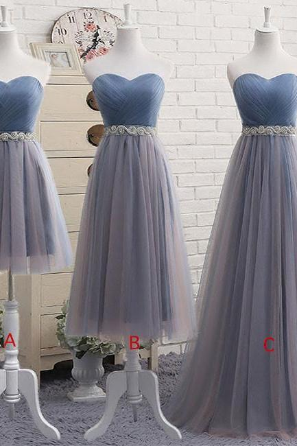 Sweetheart Neckline Prom Dress,Tulle Bridesmaid Dresses,2017 Short Prom Dress with Beading Waist
