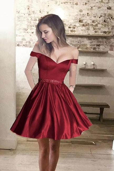 Cute Off Shoulder Homecoming Dress,A line Beaded Graduation Dress,Satin Party Dresses,Short Prom Dresses