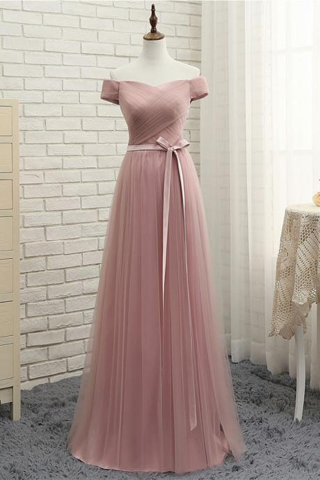 Blush Tulle Off-The-Shoulder Short Sleeves Floor Length A-Line Bridesmaid Dress Featuring Bow Accent Belt, Formal Dress, Prom Dress