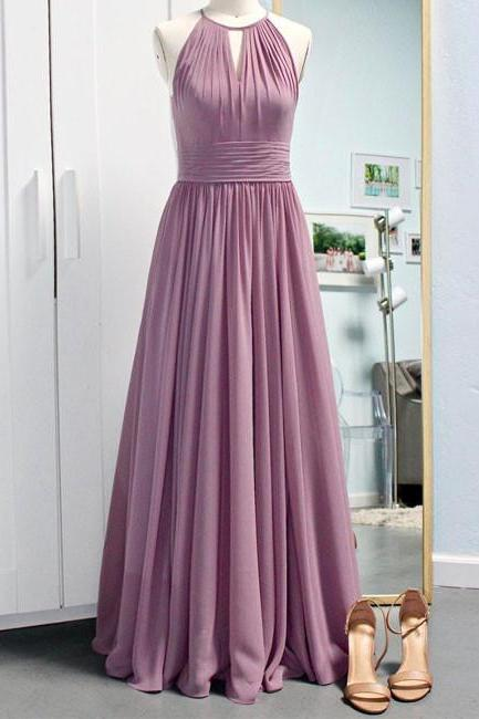 Simple Halter Chiffon Long Prom Dress,Light Purple Bridesmaid Dress,A Line Pleated Prom Dresses