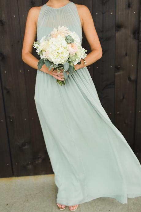 Simple Sage Green Long Bridesmaid Dress,Halter Pleat Long Evening Dress(Color 50)