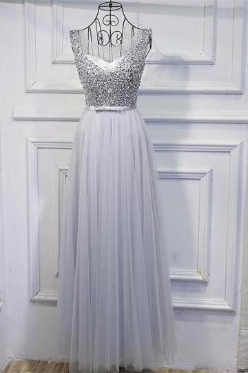 Grey Beaded Scoop Tulle Prom Dress,Long A Line Seuqined Evening Dress with Sash