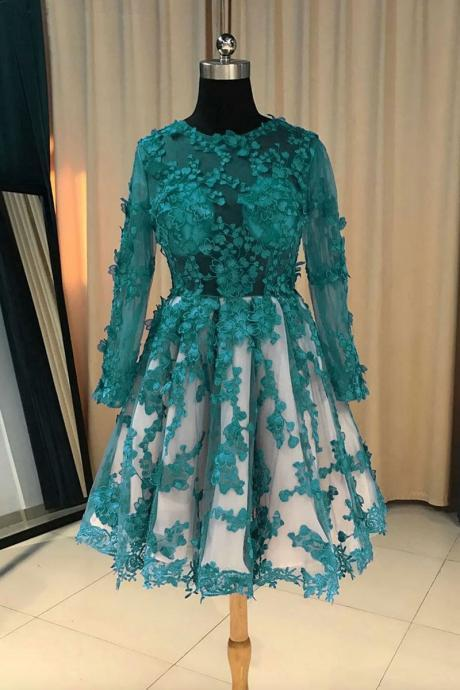 Green Long Sleeve Lace Short Prom Dress,A Line Lace Bridesmaid Dress,Women Party Dresses