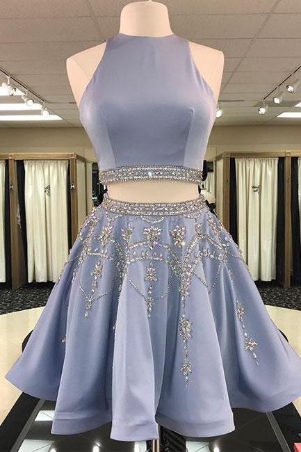 Cute Lavender Two-piece Homecoming Dress with Beading,Short Sleeveless Prom Dress,Party Dress