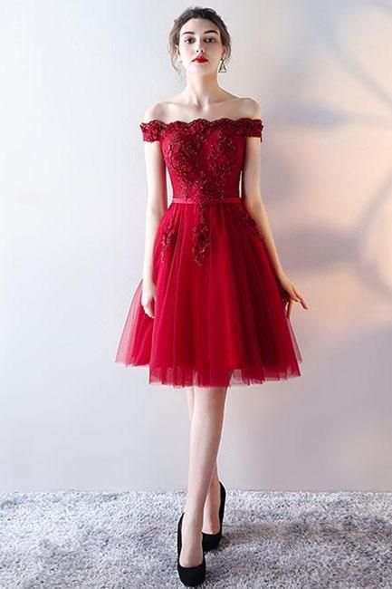 Red Cute Off-Shoulder Tulle Homecoming Dress,A-Line Lace Applique Prom Party Dress