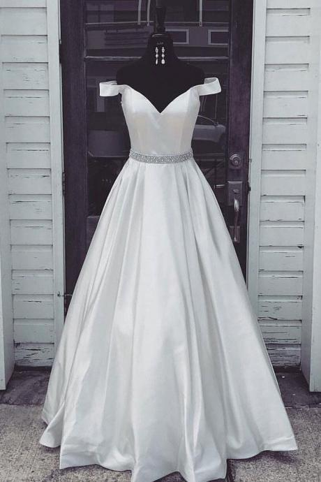 White Off Shoulder Long Prom Dress,Simple Evening Dress