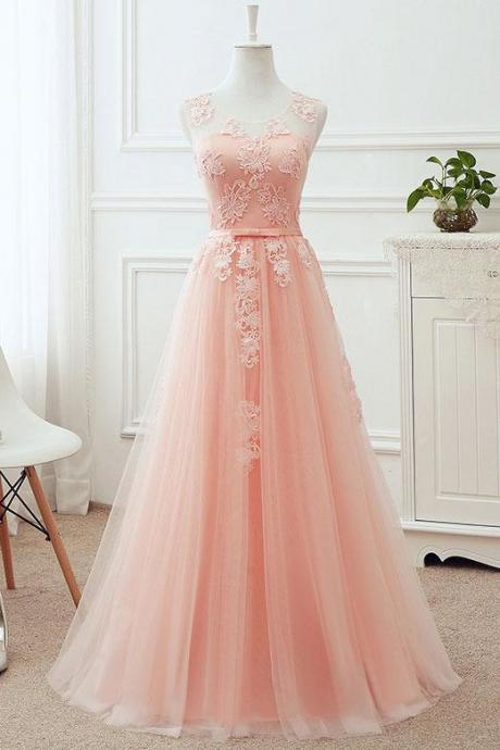 Simple Pink Sleeveless Prom Dress,Applique Round Neck Lace Up Bridesmaid Dresses