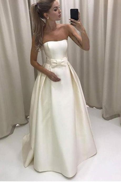 White Strapless A Line Wedding Dress,Bowknot Satin Long Pleated Evening Dress