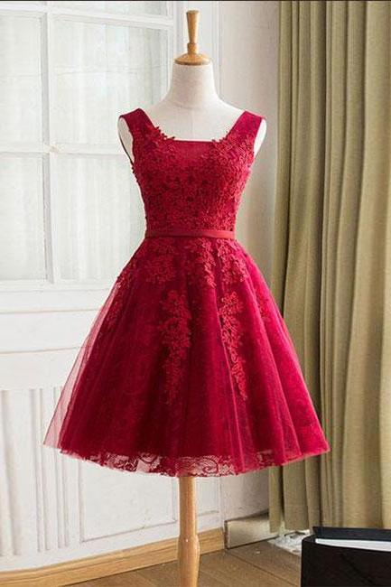 Burgundy tulle lace short prom dress,A-Line bridesmaid dress