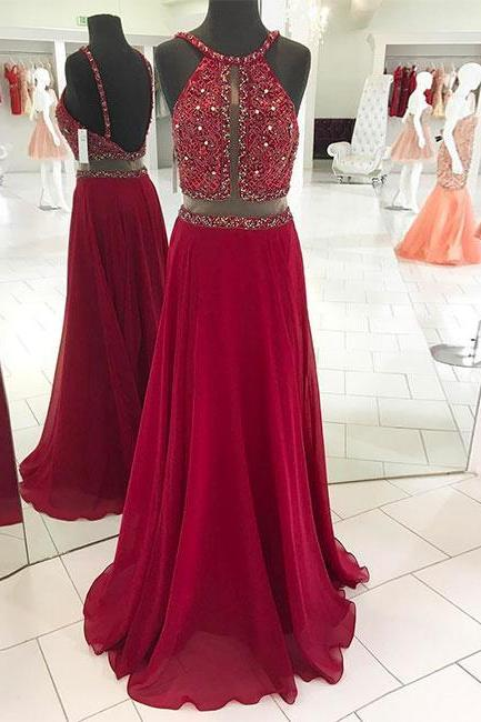 New Arrival Red Beaded Long Prom Dress,Backless Evening Dress
