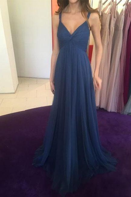 Simple Blue V-Neck Tulle Prom Dress,Long Backless Evening Dress
