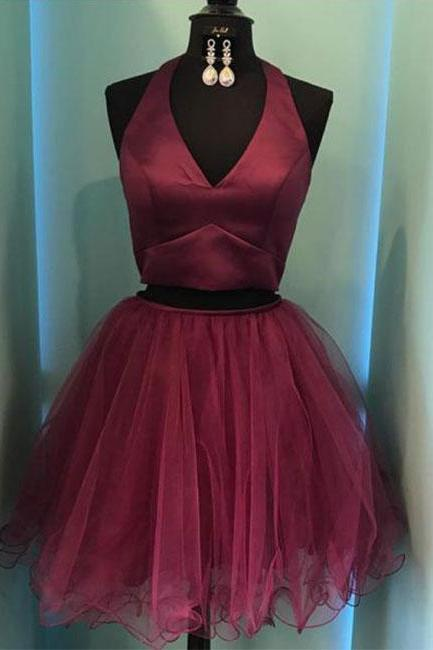 Burgundy Two-Piece V-Neck Short Prom Dress,Halter Homecoming Dresses