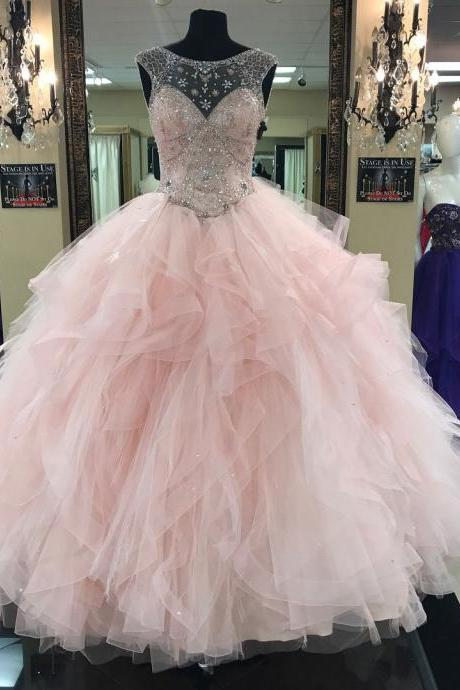 Light Pink Ball Gown,Illusion Neck Tulle Skirt Quinceanera Dresses,Pink Beaded Tulle Long Prom Dress