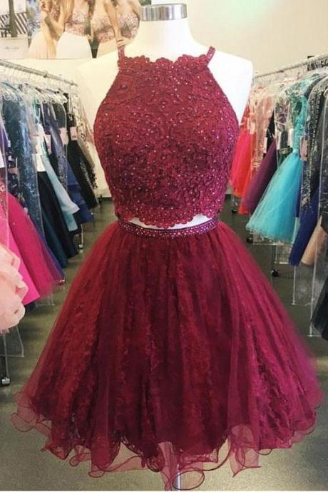 Burgundy A-line Halter Two-Piece Lace Short Prom Homecoming Dresses