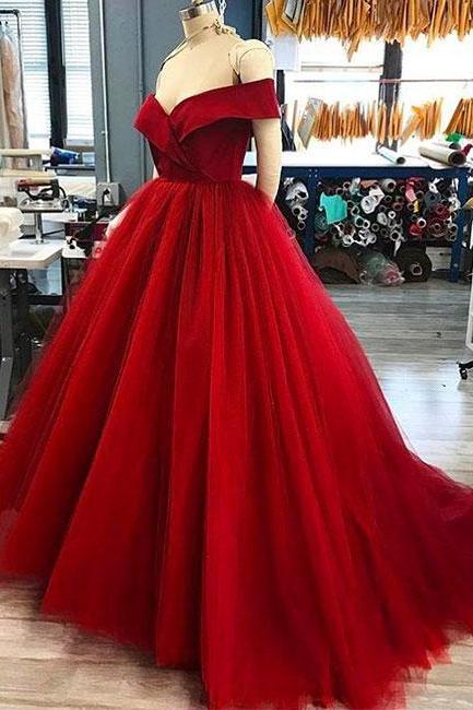 2018 Red Off Shoulder Tulle Prom Dress,Elegant Evening Dress,Formal Gowns