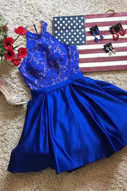 Cute Royal Blue High Neck Lace Homecoming Dress,Lace Cocktail Dress