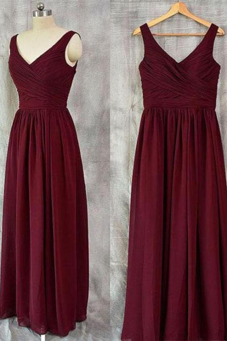 Simple Burgundy V-Neck Chiffon Bridesmaid Dress,Long Sleeveless Prom Dress