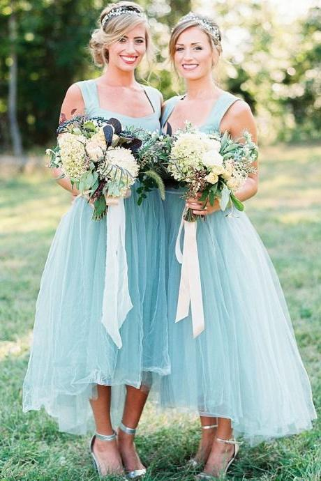 Simple A-Iine Square Neck Tulle Bridesmaid Dress,Sleeveless Light Blue Bridesmaid Dress with Waist Beaded
