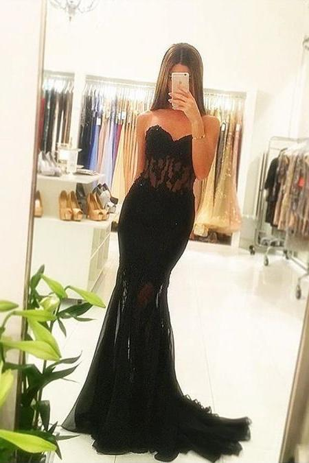 Charming Sweetheart Lace See Through Black/Pink Prom Dress,Mermaid Prom Dresses