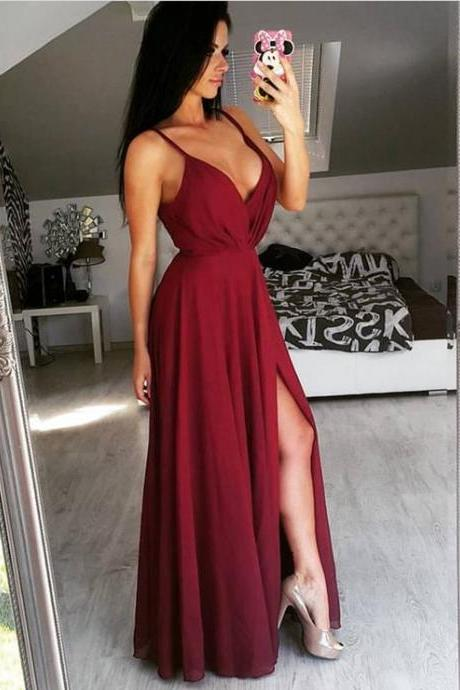 Simple Long Chiffon V-Neck Prom Dresses,2018 Sexy Slit Evening Gowns,Burgundy Prom Dress