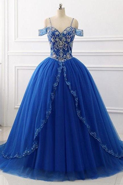 Charming Sweetheart Off The Shoulder Blue Sequin Beaded Prom Dress,Long Ball Gowns,Rhinestones Prom Gowns