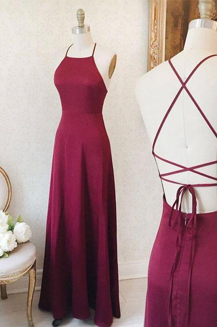 Simple Burgundy Long Prom Dress,Lace up Back Evening Dress,Burgundy Maxi Dress