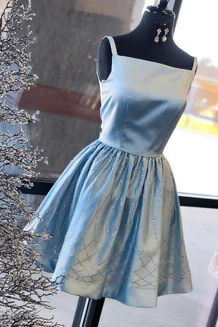 Cute Light Blue Homecoming Dress,Square Neck Straps Satin Short Prom Dress